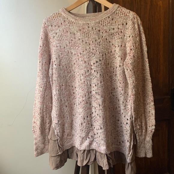 Knox Rose Dusty Rose Open Knit Sweater Ruffle